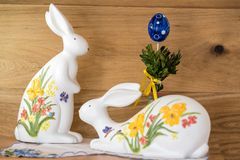 Easter bunny painted himself stock image