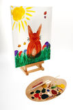 Easter Bunny Painted On Canvas Stock Photography