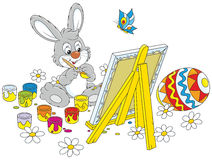 Easter Bunny painter Stock Image