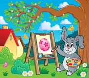 Easter bunny painter theme 2 Royalty Free Stock Images
