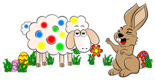 Easter bunny painting a sheep colorful Stock Images