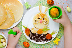 Easter bunny pancakes for breakfast Royalty Free Stock Image