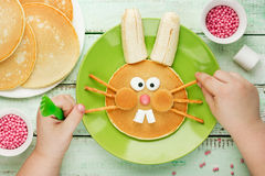 Easter bunny pancakes Royalty Free Stock Image