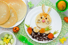Easter bunny pancakes creative idea for kids Easter breakfast Royalty Free Stock Photo