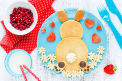 Easter bunny pancakes for kids breakfast Royalty Free Stock Photography