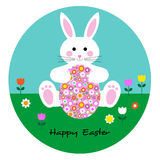 Easter bunny with patterned egg Stock Images