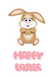 Easter bunny peeking out from the bottom edge of the postcard. H Royalty Free Stock Image