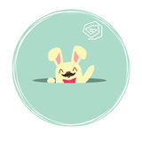 Easter Bunny peeking out of a hole. Vector illustration eps 10 stock image