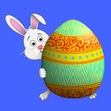 Easter bunny peeping round Easter ggg vector illustration