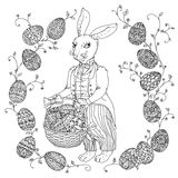 Easter Bunny pfor a coloring book Stock Images