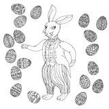 Easter Bunny pfor a coloring book Royalty Free Stock Photography