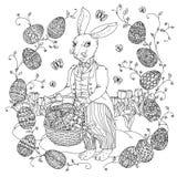 Easter Bunny pfor a coloring book Stock Photos