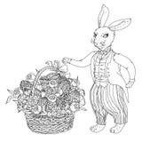 Easter Bunny pfor a coloring book Royalty Free Stock Photos