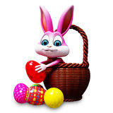 Easter bunny  pick up egg Stock Image