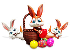Easter bunny pick up the eggs Royalty Free Stock Photo