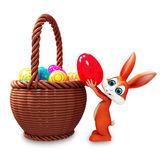 easter bunny pick up red egg vector illustration