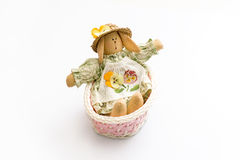 Easter Bunny in a pink basket Stock Image