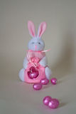 Easter Bunny. With pink eggs royalty free stock images