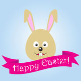 Easter bunny. Pink ribbon. Symbol of Easter Stock Photo