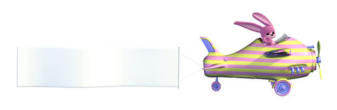 Easter Bunny Plane With Blank Banner Royalty Free Stock Photos