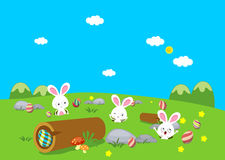 Easter bunny playful with eggs colorful Stock Images