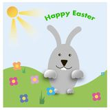 Easter bunny playful with painted eggs. Design Easter postcards stock illustration