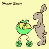 Easter Bunny with a Pram Stock Photo