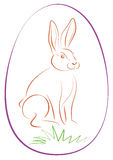 Easter Bunny Purple Egg Outline Stock Image