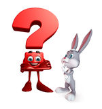 Easter Bunny with question mark sign Royalty Free Stock Photo