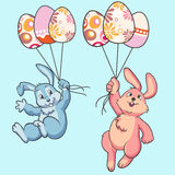 Easter bunny rabbit with balloons Stock Photo