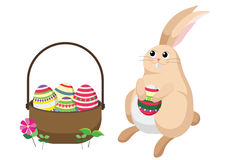 Easter bunny rabbit with Easter basket full of decorated Easter eggs. Royalty Free Stock Photo