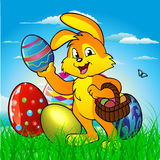 Easter bunny rabbit with Easter basket royalty free illustration