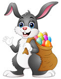Easter bunny rabbit with easter eggs a sack of full. Illustration of Easter bunny rabbit with easter eggs a sack of full Stock Photos