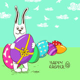 Easter bunny rabbit with eggs Stock Photography