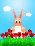 Easter Bunny Rabbit on Field of Tulips Flowers. Happy Easter Bunny Rabbit on Field of Tulips Flowers in Spring Season With Blue Sky Illustration Royalty Free Stock Photography