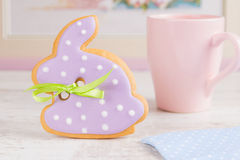 Easter bunny rabbit gingerbread cookie Royalty Free Stock Photos