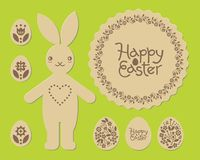 Easter bunny rabbit. Happy Easter laser cut pattern. Laser cutting template for plywood. Cutout. Vector illustration. Easter bunny rabbit. Happy Easter laser Stock Photo