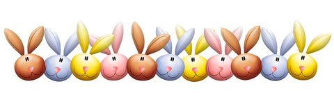 Easter Bunny Rabbit Heads Border Stock Photo