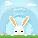 Easter bunny rabbit hole egg icon sky background template flat moble apps design vector illustration. Easter bunny rabbit hole egg icon sky background template Stock Photos