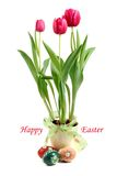 Easter bunny rabbit with painted Easter eggs and Tulips. Royalty Free Stock Image