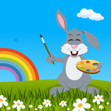 Easter Bunny Rabbit with Palette & Rainbow Stock Images