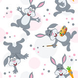 Easter Bunny Rabbits Seamless Pattern. A seamless pattern with funny bunny rabbits in different positions and expressions, on white background. Useful also as stock illustration