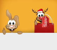 Easter Bunny and Reindeer Christmas thumbs up. Graphic illustration Stock Photo