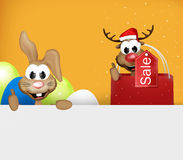 Easter Bunny and Reindeer Christmas thumbs up. Graphic illustration Royalty Free Stock Image