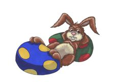 Easter Bunny Relaxing Royalty Free Stock Images
