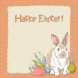 Easter bunny retro card Stock Photo