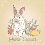 Easter bunny retro card  Stock Image