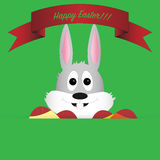 Easter bunny with ribbon, eggs as a greeting card Stock Photos