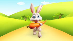 Easter Bunny running with big carrot Stock Photo