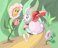 Easter Bunny running with egg. On road in the forest. Vector Stock Photo